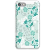 Floral Birds and Vines in Aqua and Gray iPhone Cases iPhone Case/Skin