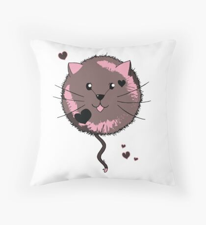 Kawaii Cat Ball Throw Pillow