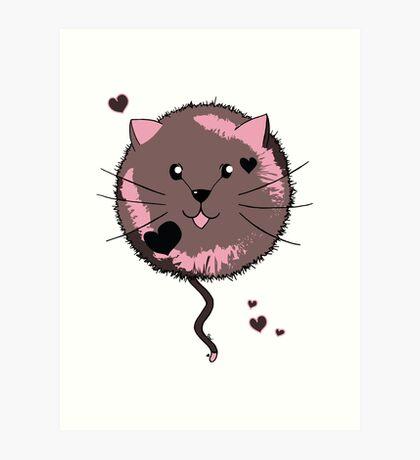 Kawaii Cat Ball Art Print