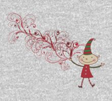 Red Swirls Magical Christmas Elf One Piece - Long Sleeve