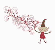 Swirly Magical Christmas Elf T-shirt (on light) by fatfatin