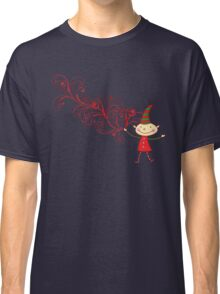 Red Swirls Magical Christmas Elf Classic T-Shirt
