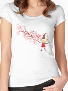 Red Swirls Magical Christmas Elf Women's Fitted Scoop T-Shirt