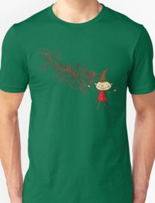 Red Swirls Magical Christmas Elf Unisex T-Shirt