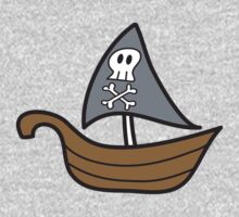 Cartoon Skull Pirate Ship Kids Tee