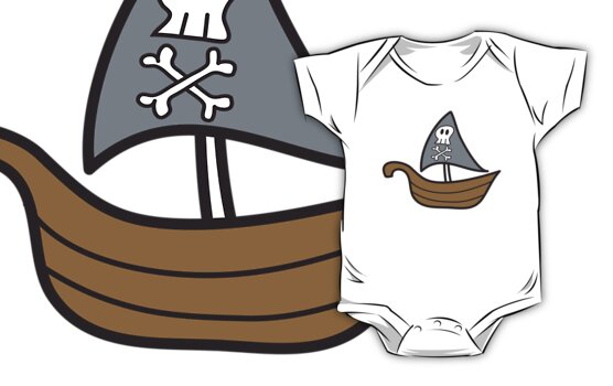 Cartoon Skull Pirate Ship T-shirt by fatfatin