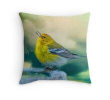 Sweet Little Warbler Throw Pillow