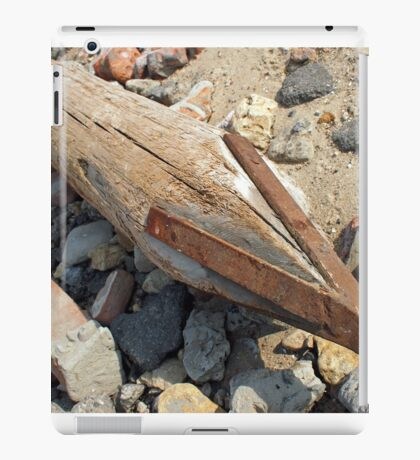 Wooden pole with an iron tip at a construction site iPad Case/Skin