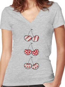 Summer Retro Pattern Cute Cheeky Cherries Trio Women's Fitted V-Neck T-Shirt