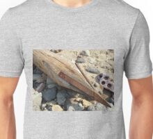 Wooden pole with an iron spike on the construction site Unisex T-Shirt