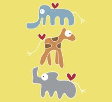 Cartoon Ellie, Giraffe & Rhino Trio Baby Tee