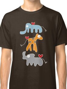 Cartoon Ellie, Giraffe & Rhino Trio Classic T-Shirt