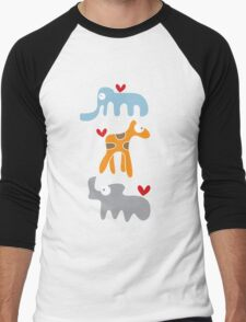 Cartoon Ellie, Giraffe & Rhino Trio Men's Baseball ¾ T-Shirt