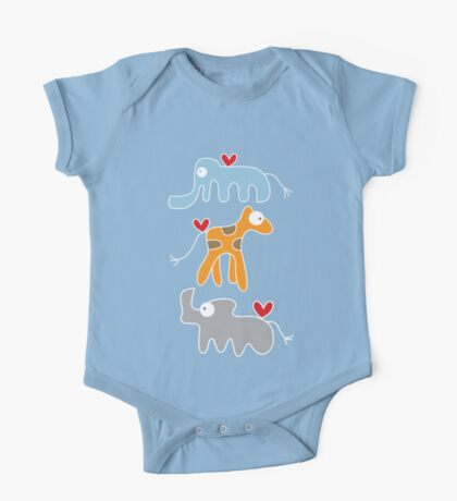 Cartoon Ellie, Giraffe & Rhino Trio One Piece - Short Sleeve