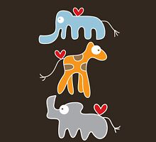 Cartoon Ellie, Giraffe & Rhino Trio Womens Fitted T-Shirt