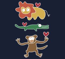 Cartoon Lion, Alligator & Chimpanzee Trio Kids Tee