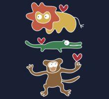 Cartoon Lion, Alligator & Chimpanzee Trio Baby Tee