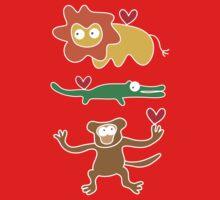 Cartoon Lion, Alligator & Chimpanzee Trio One Piece - Short Sleeve