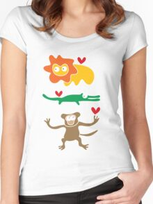 Cartoon Lion, Alligator & Chimpanzee Trio Women's Fitted Scoop T-Shirt
