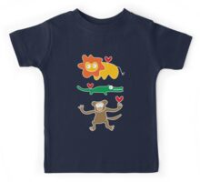 Cartoon Lion, Alligator & Chimpanzee Trio Kids Tee