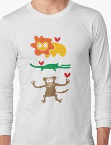 Cartoon Lion, Alligator & Chimpanzee Trio Long Sleeve T-Shirt