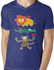 Cartoon Lion, Alligator & Chimpanzee Trio Mens V-Neck T-Shirt