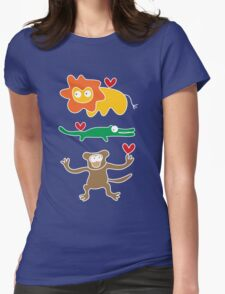Cartoon Lion, Alligator & Chimpanzee Trio Womens Fitted T-Shirt