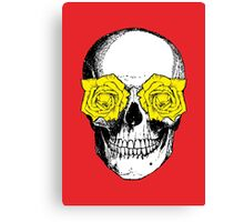Skull & Roses | Red & Yellow Canvas Print