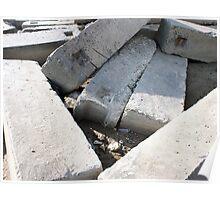 Large concrete building blocks closeup Poster