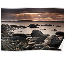Sun Rays from Hinsby Beach, Tasmania Poster