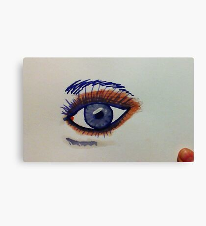 Sexy eye with brown shadow, watercolor Canvas Print