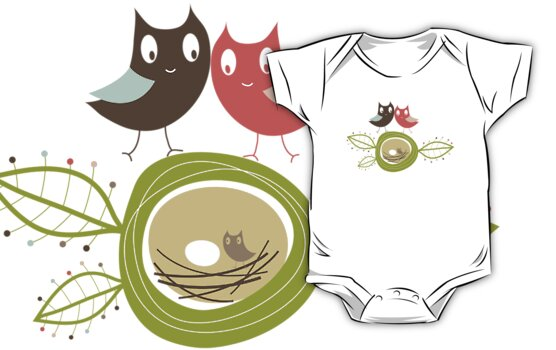 Whimsical Nesting Owl Family by fatfatin