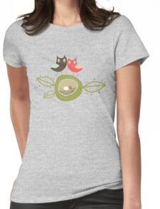 Whimsical Nesting Owl Family Womens Fitted T-Shirt