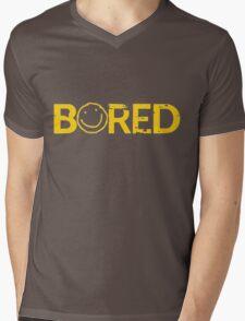 Sherlock Bored Smiley Print Mens V-Neck T-Shirt
