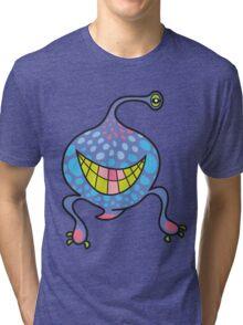 Mrs. Blob Cartoon Blue Monster Tri-blend T-Shirt