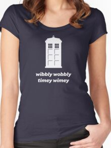Wibbly Wobbly Timey Wimey Shirt (Dark Colors) Women's Fitted Scoop T-Shirt