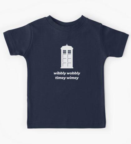 Wibbly Wobbly Timey Wimey Shirt (Dark Colors) Kids Tee