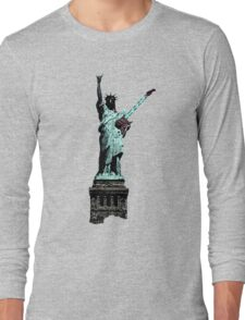 Miss Liberty Rocks Street Art Long Sleeve T-Shirt