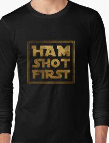 Ham Shot First - Gold Long Sleeve T-Shirt