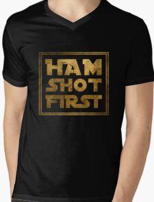Ham Shot First - Gold Mens V-Neck T-Shirt