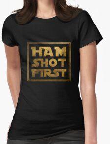 Ham Shot First - Gold Womens Fitted T-Shirt