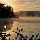 early morning fog over lake logan near hocking hills state park by 1busymom