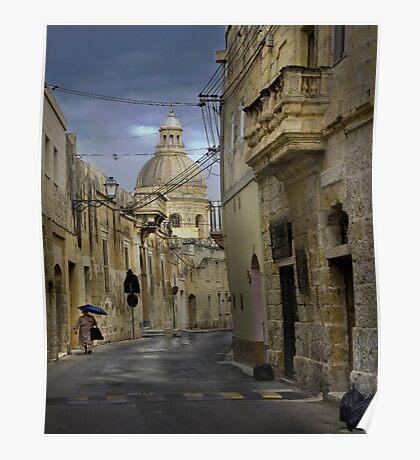 Siggiewi Malta --- Walking in the Rain Poster