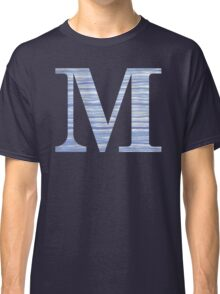 Letter M Blue Watercolor Stripes Monogram Initial Classic T-Shirt