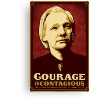 Julian Assange Courage Is Contagious Canvas Print