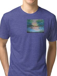 THE THIN GOLD MASK - sunset on the lake Tri-blend T-Shirt