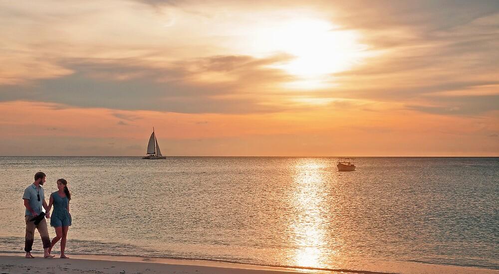 A Stroll at Sunset  by John  Kapusta