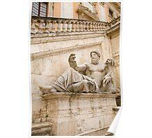 Statue outside Palazzo Senatorio Poster