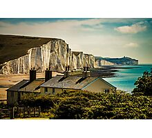 The Coast Guard Cottages And The Seven Sisters Photographic Print