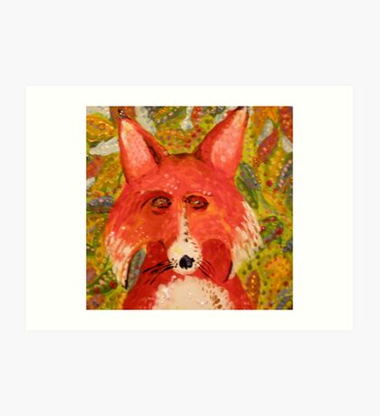 Mr. Fox Hiding In The Leaves Art Print